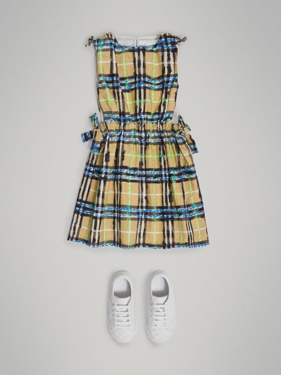 Tie-detail Scribble Check Cotton Dress in Bright Blue - Girl | Burberry United Kingdom - cell image 2