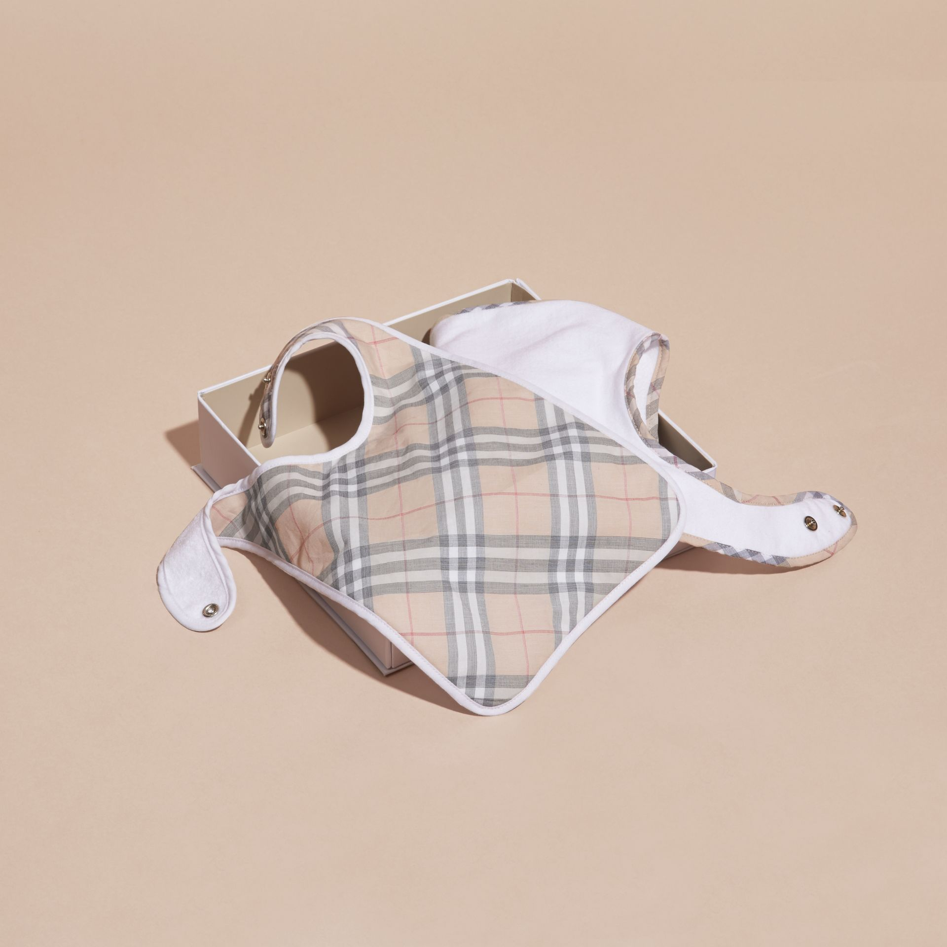 Cotton Two-piece Baby Gift Set in White | Burberry - gallery image 4