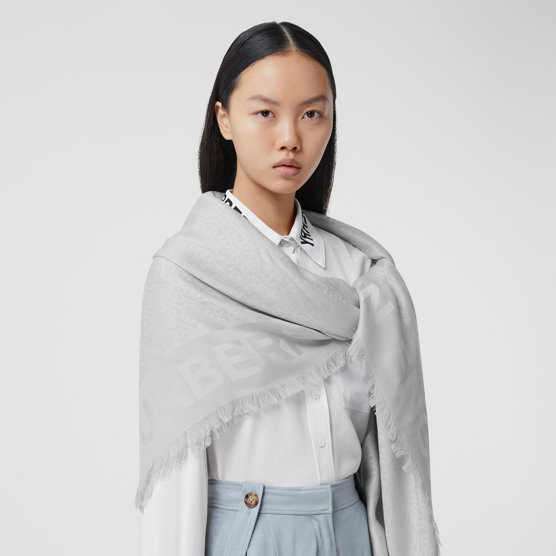Monogram Silk Wool Jacquard Large Square Scarf in Light Pebble Grey | Burberry - gallery image 2