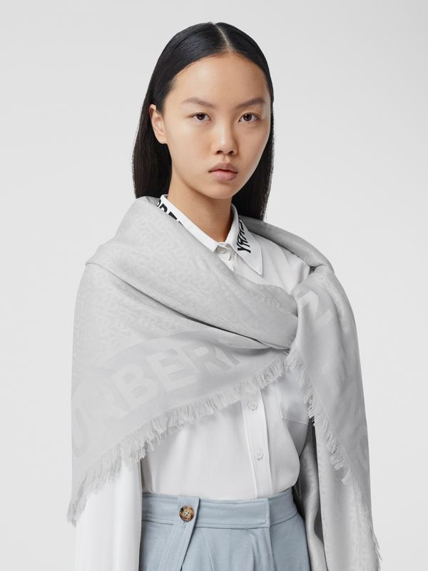 Monogram Silk Wool Jacquard Large Square Scarf in Light Pebble Grey | Burberry - cell image 2