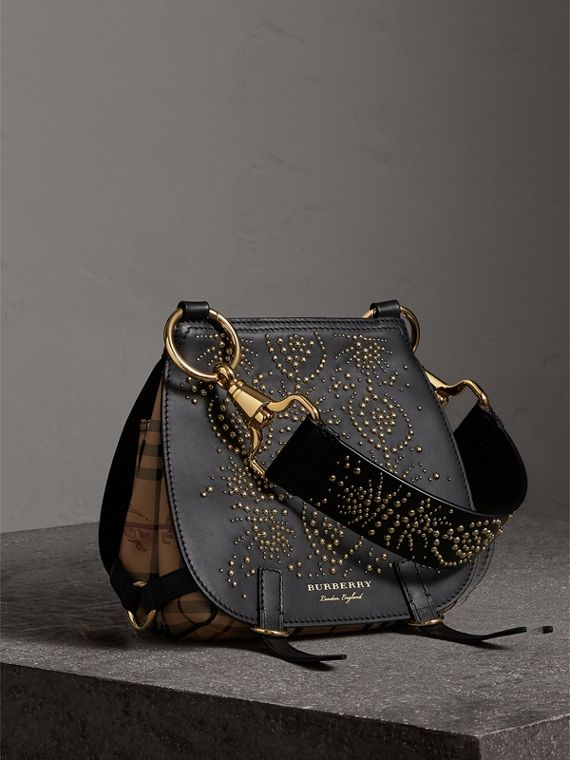 "Bolso Bridle con motivo ""Fruit and Flowers"" en piel con tachuelas (Negro)"