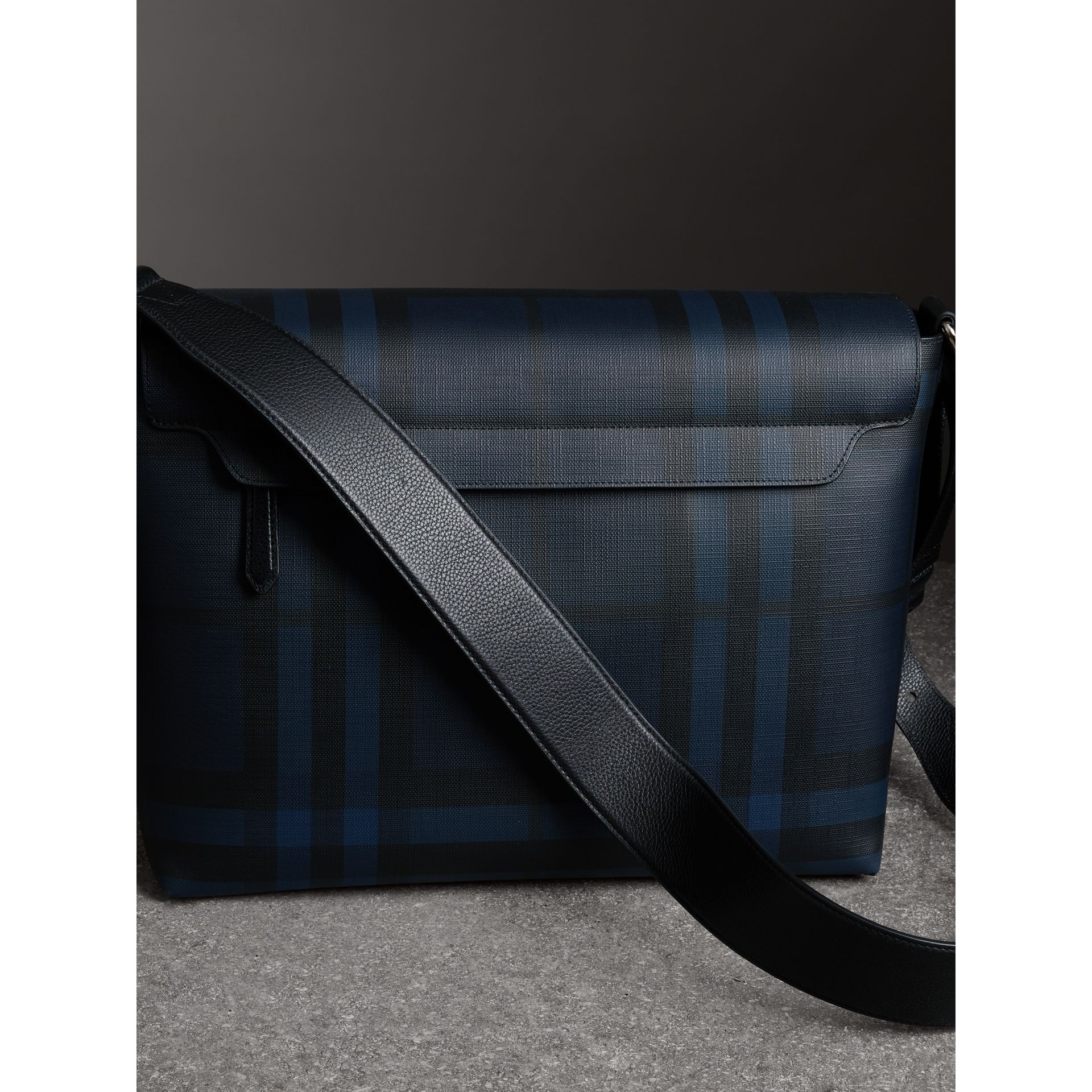 Large London Check Messenger Bag in Navy/black - Men | Burberry - gallery image 4