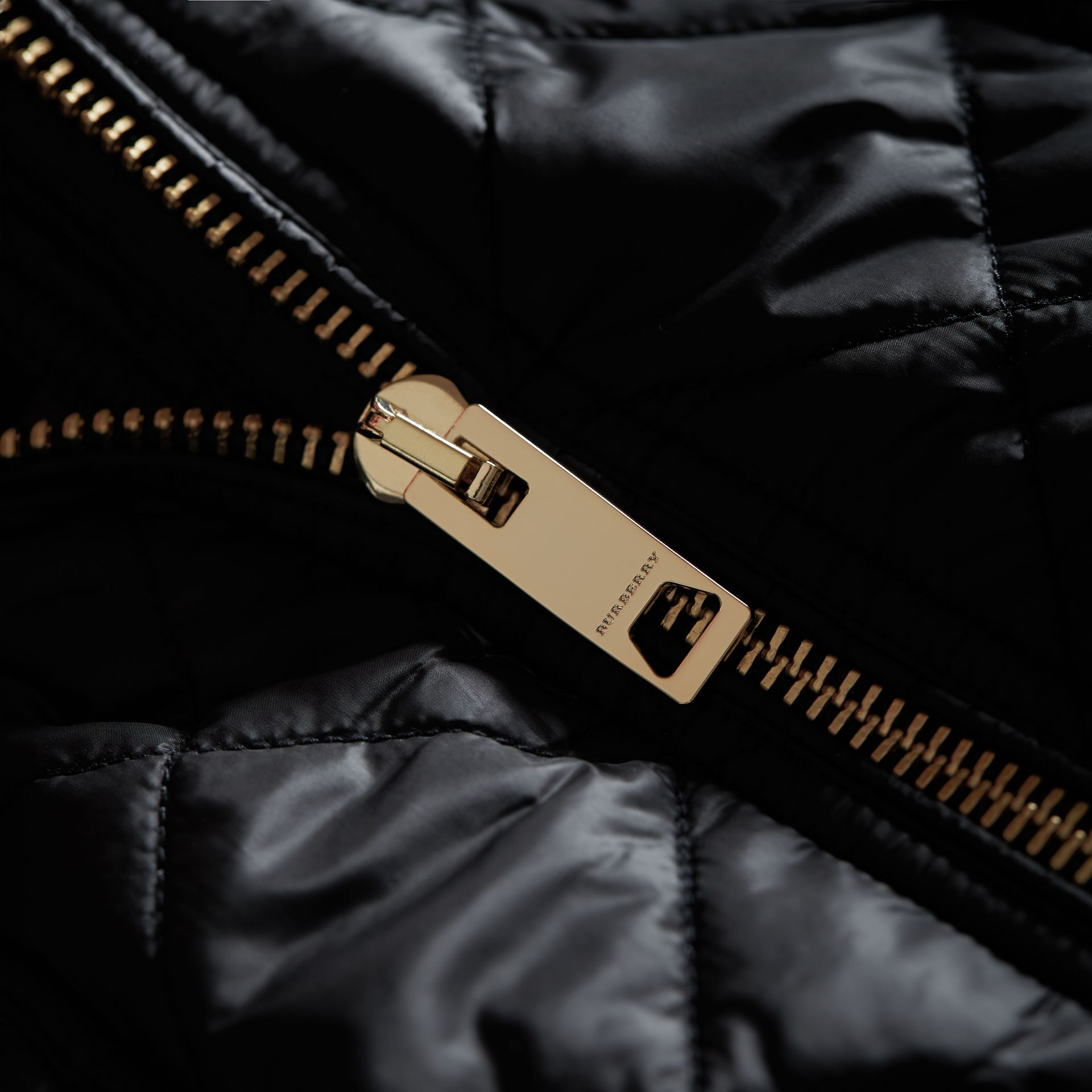 Detachable Hood Quilted Showerproof Parka in Black - Women | Burberry - gallery image 1