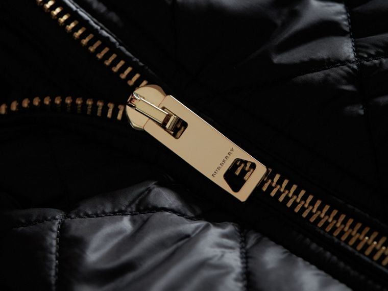 Detachable Hood Quilted Showerproof Parka in Black - Women | Burberry Singapore - cell image 1