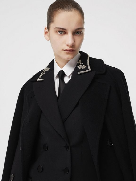 Bullion Stretch Wool Double-breasted Jacket in Black - Women | Burberry - cell image 1