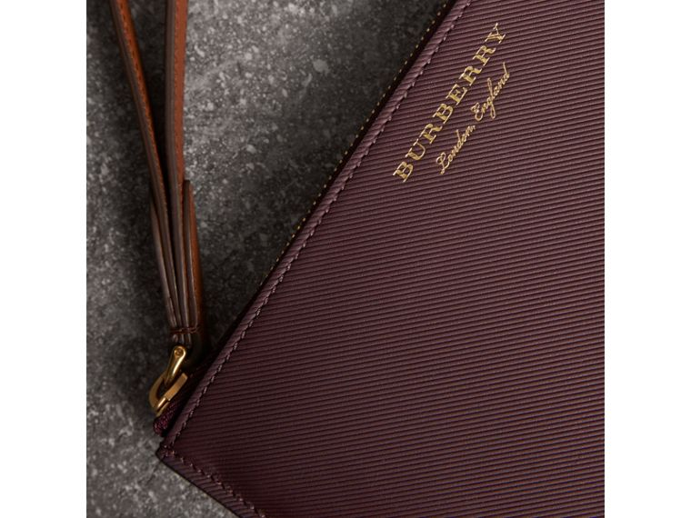 Two-tone Trench Leather Travel Wallet in Wine - Men | Burberry - cell image 1