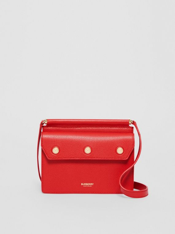 Mini Leather Title Bag in Bright Military Red