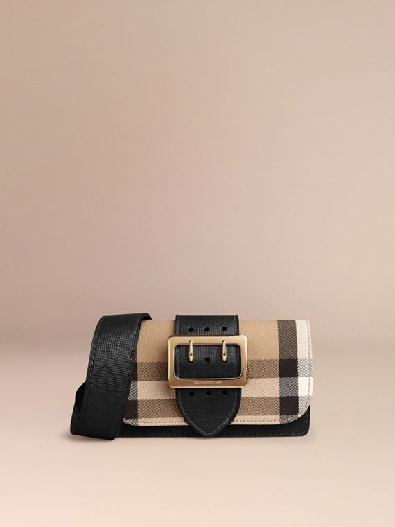 Black The Small Buckle Bag in House Check and Leather Black - cell image 3