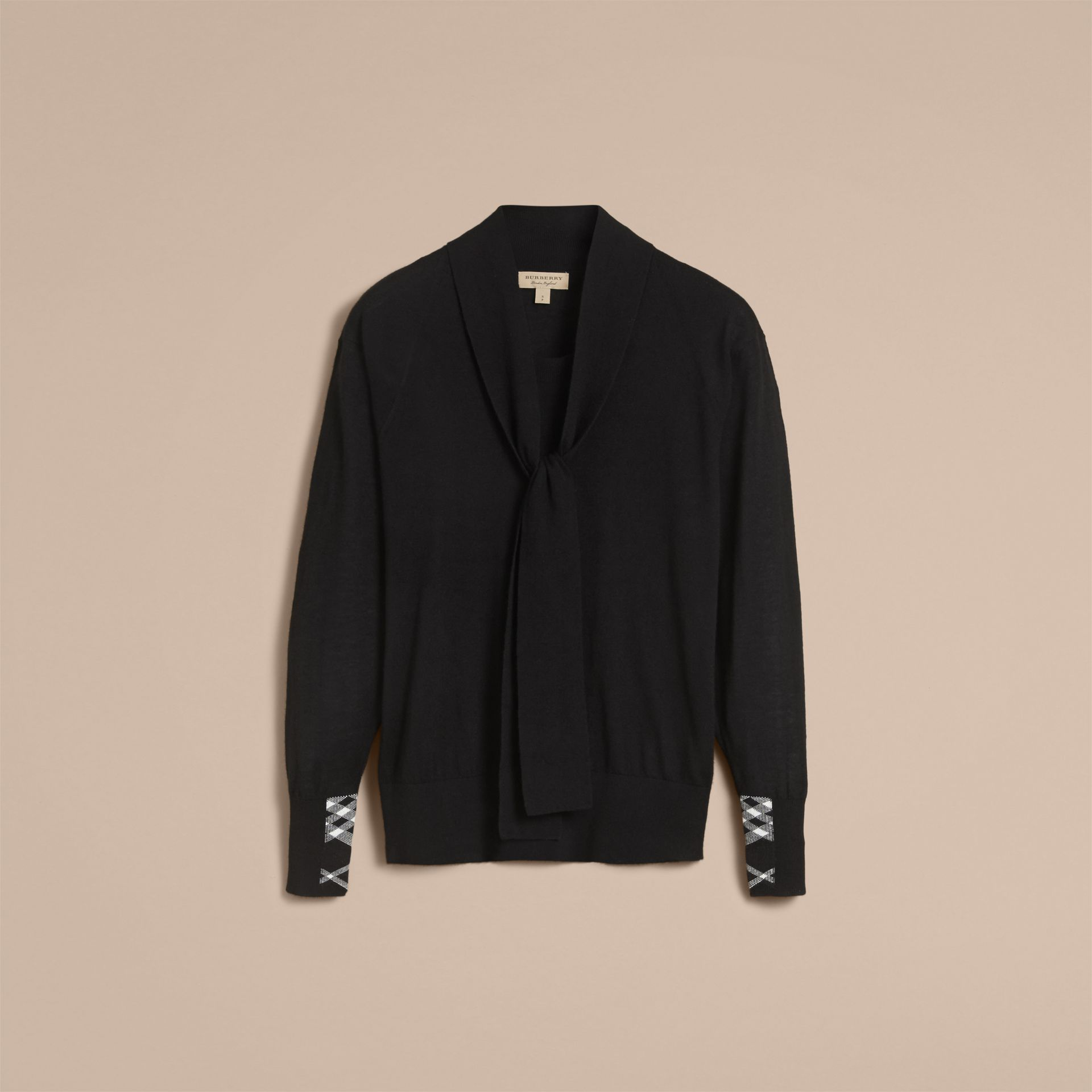 Neck Tie Cashmere Sweater in Black - Women | Burberry - gallery image 3