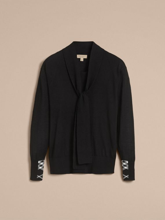 Neck Tie Cashmere Sweater in Black - Women | Burberry Hong Kong - cell image 3