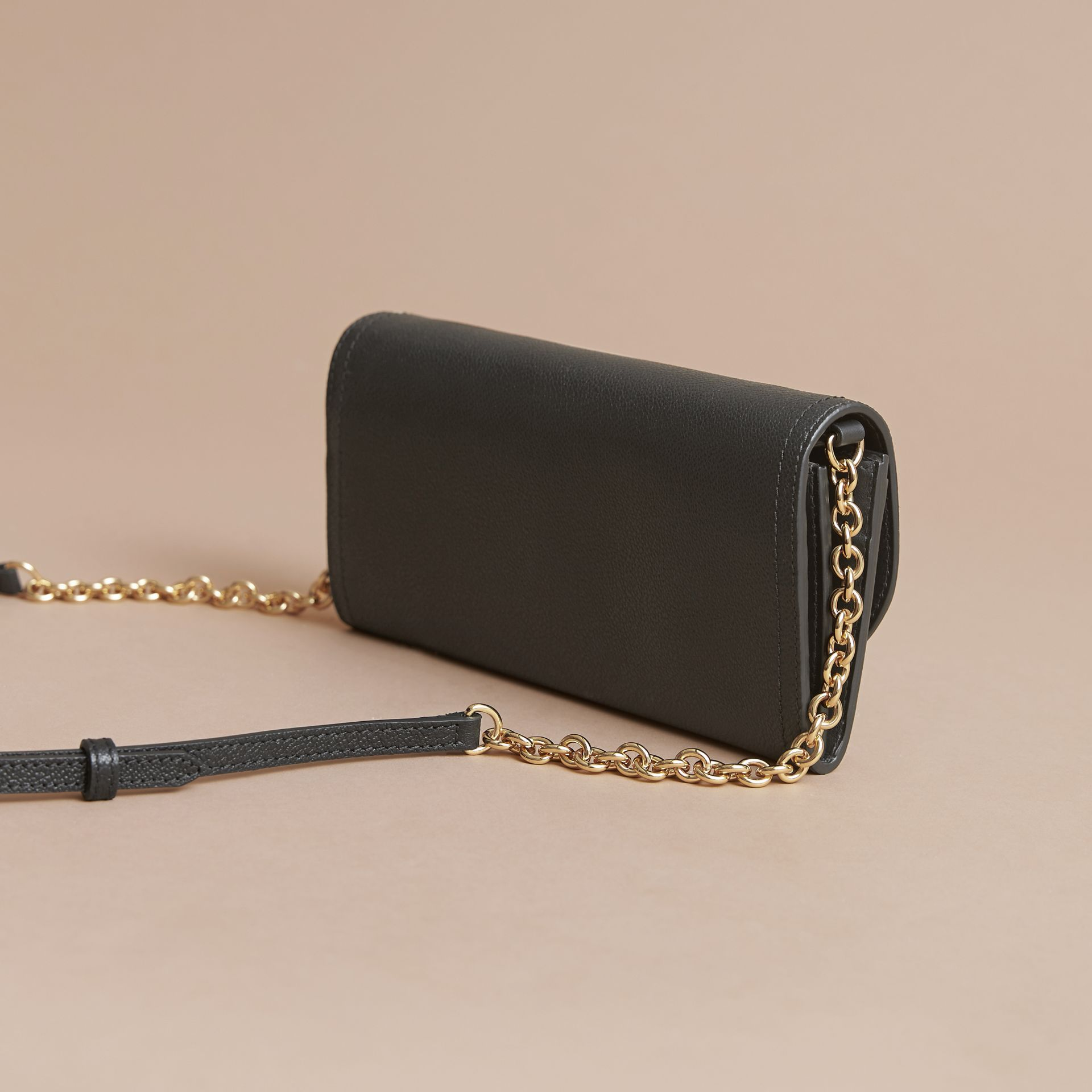 Leather Wallet with Chain in Black - Women | Burberry Australia - gallery image 5