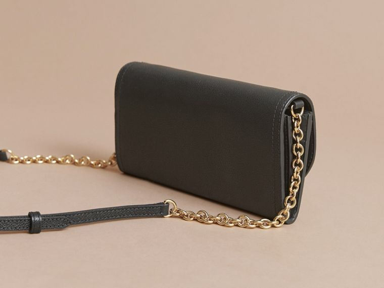 Leather Wallet with Chain in Black - Women | Burberry - cell image 4