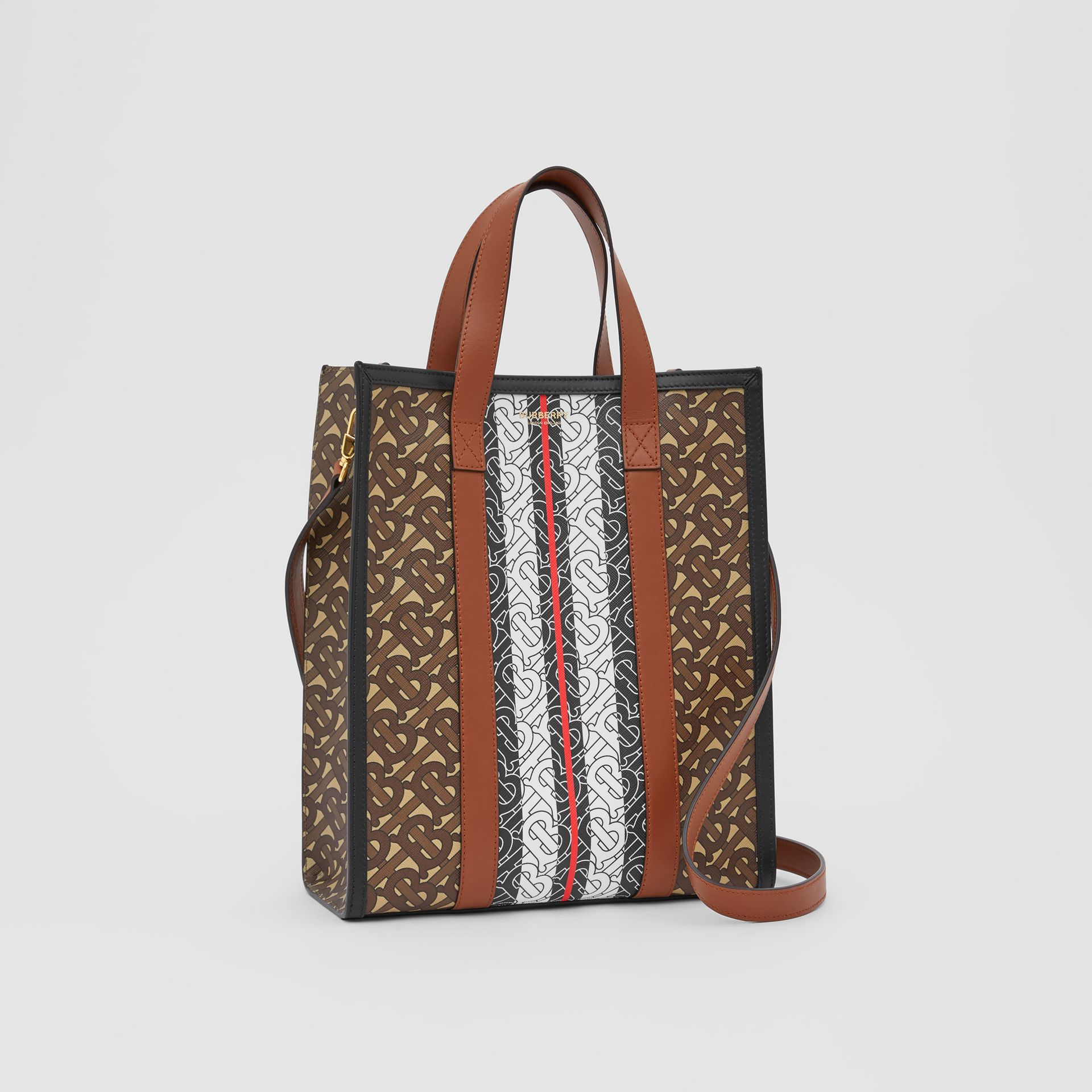 Small Monogram Stripe E-canvas Portrait Tote Bag in Bridle Brown - Women   Burberry United Kingdom - gallery image 4