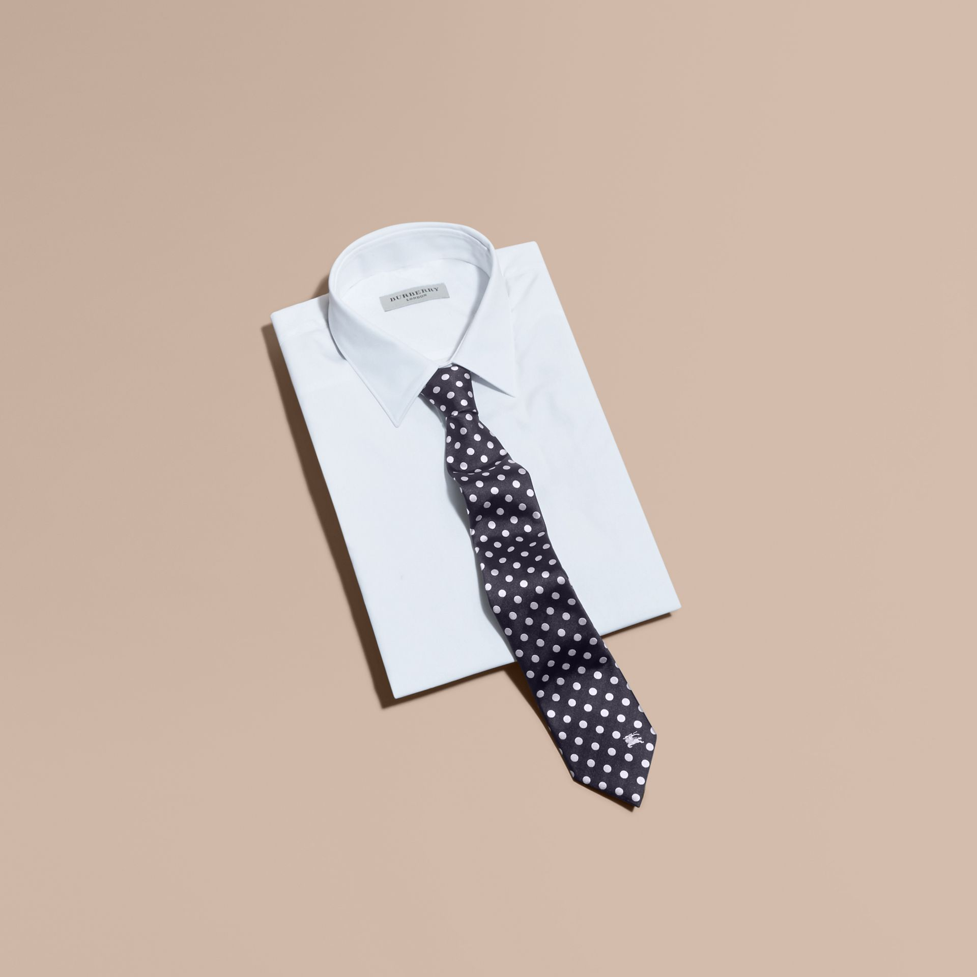 Modern Cut Polka-dot Silk Jacquard Tie in Dark Navy - Men | Burberry - gallery image 4
