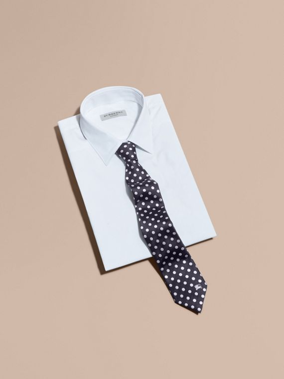 Modern Cut Polka-dot Silk Jacquard Tie in Dark Navy - Men | Burberry United Kingdom - cell image 3
