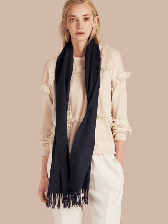 The Classic Cashmere Scarf in Navy | Burberry Australia - cell image 2
