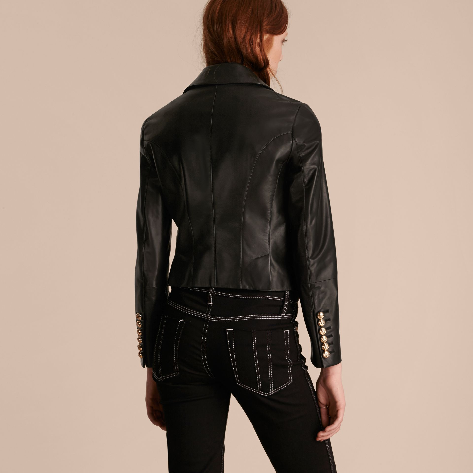 Black Cropped Lambskin Military Jacket - gallery image 3