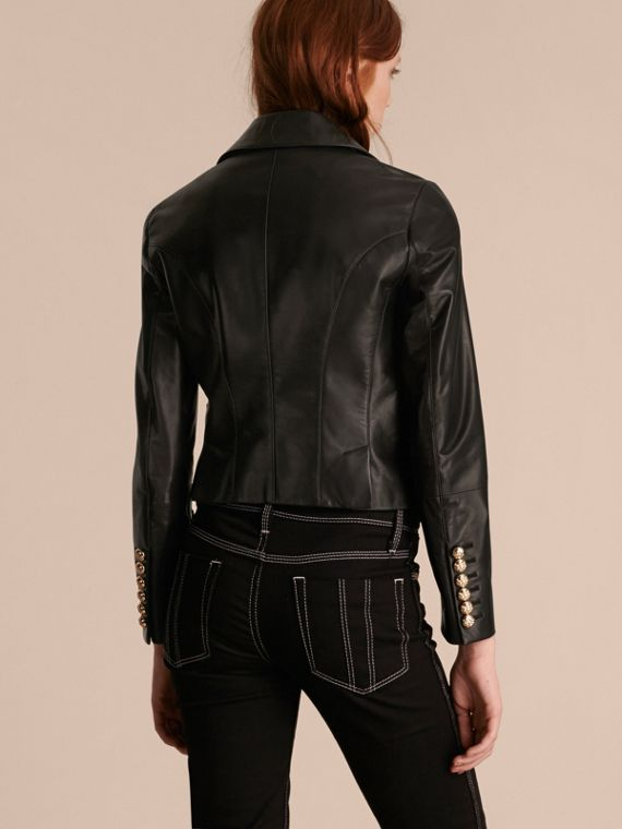 Black Cropped Lambskin Military Jacket - cell image 2