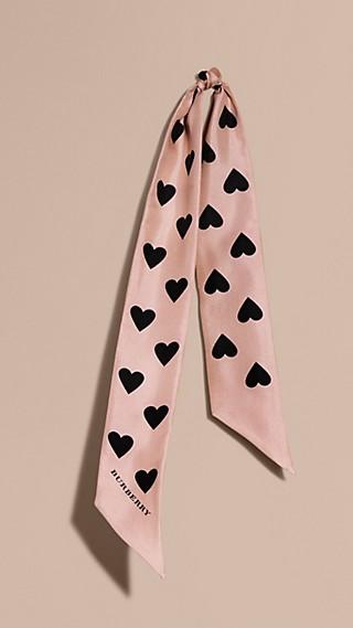 Heart Print Slim Silk Scarf