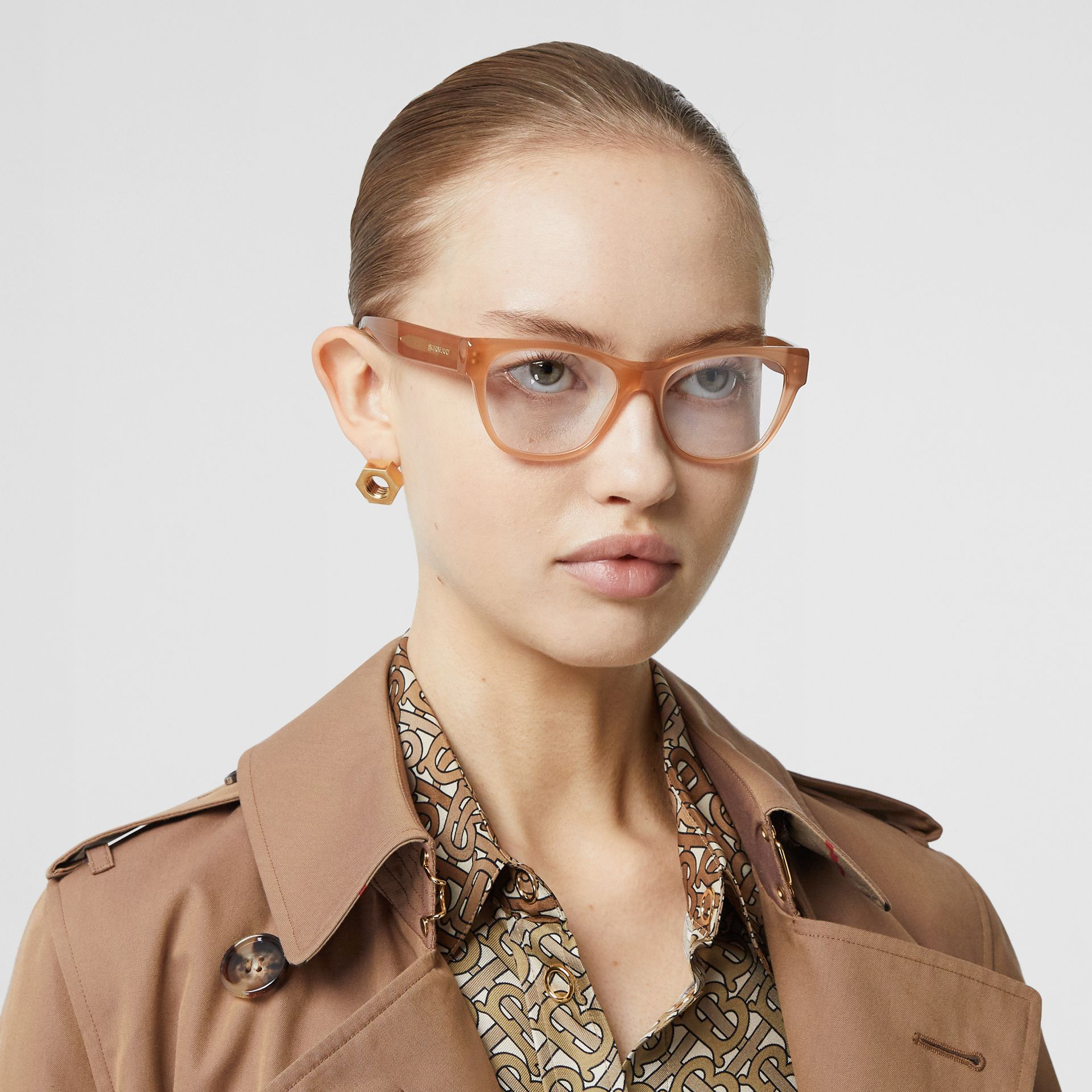 Square Optical Frames in Peach - Women | Burberry - gallery image 2