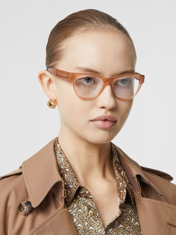 Square Optical Frames in Peach - Women | Burberry Singapore - cell image 2