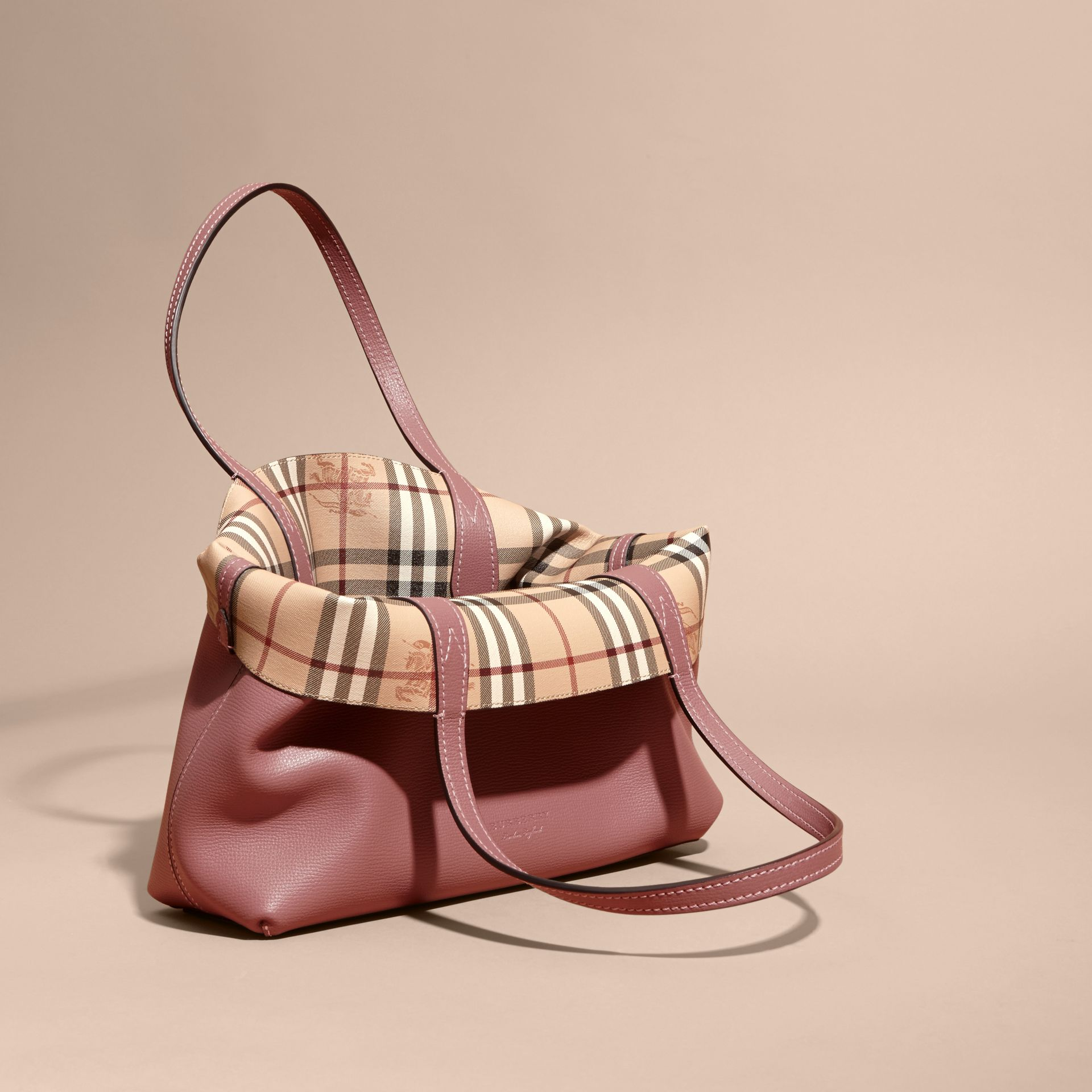 The Small Reversible Tote in Haymarket Check and Leather in Light Elderberry - Women | Burberry - gallery image 5