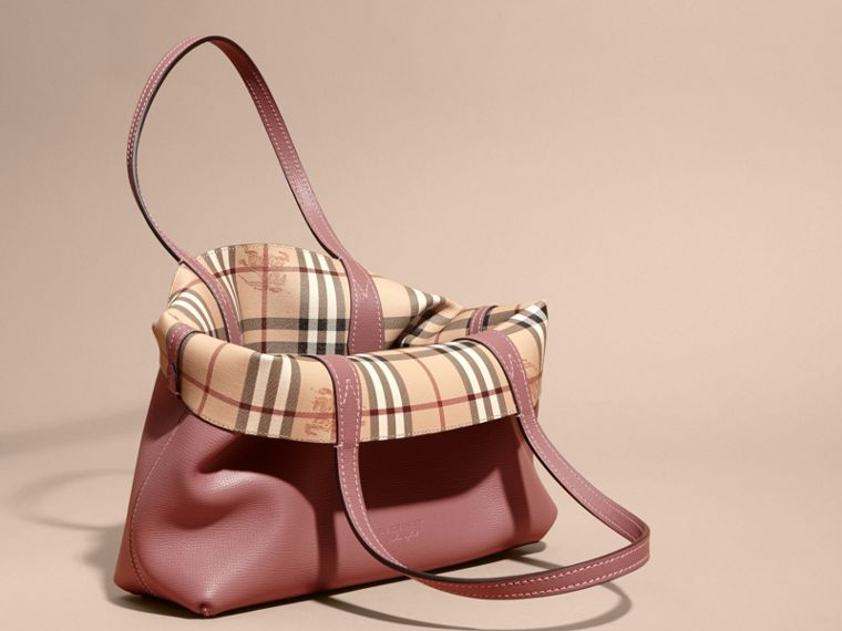 The Small Reversible Tote in Haymarket Check and Leather in Light Elderberry - Women | Burberry - cell image 4