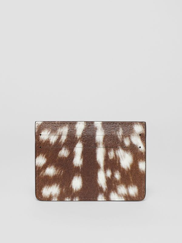 Deer Print Leather Card Case in Tan/white | Burberry - cell image 3