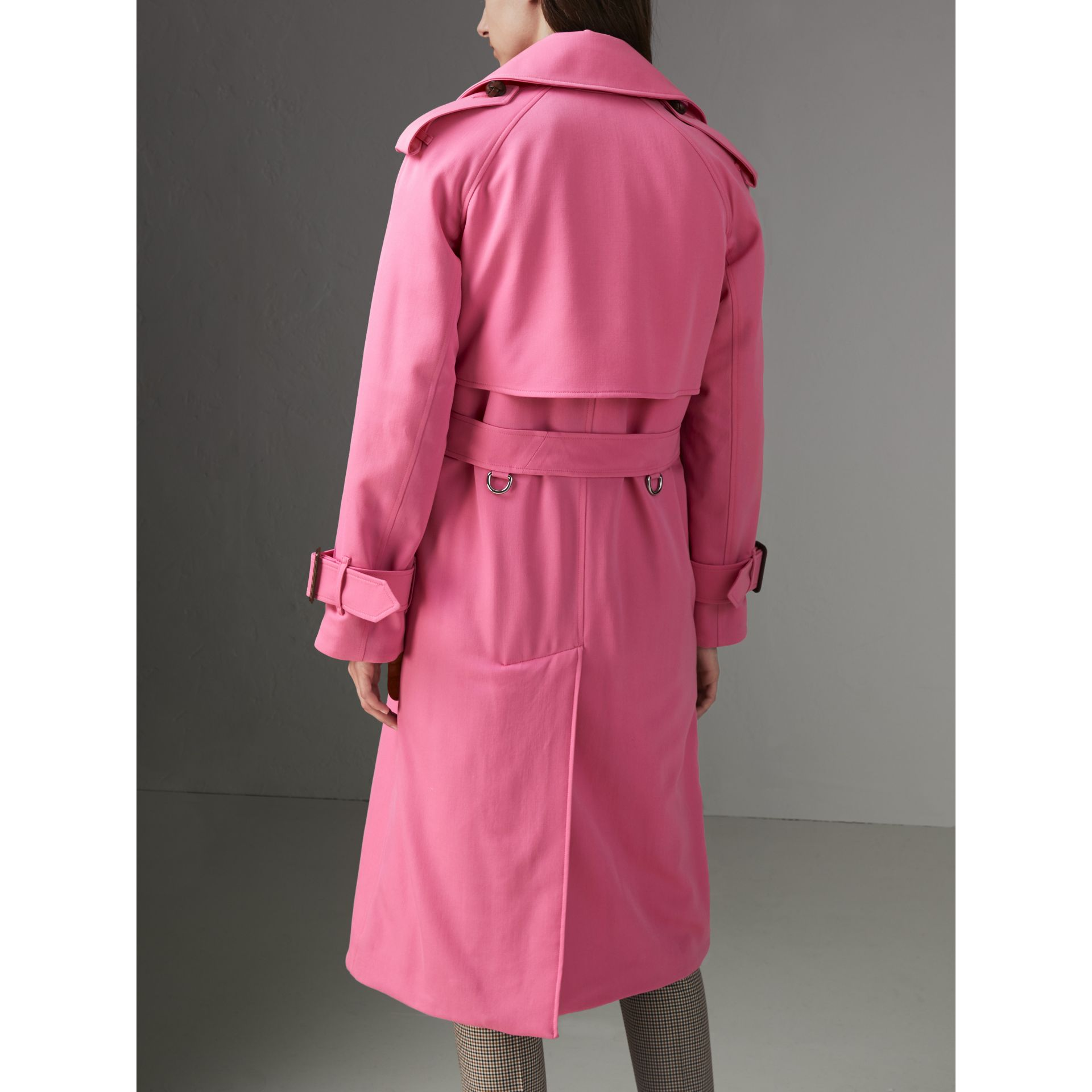 Oversized Lapel Wool Gabardine Trench Coat in Bright Pink - Women | Burberry Australia - gallery image 2