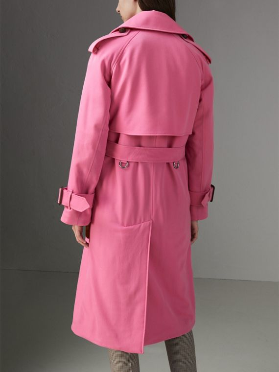 Oversized Lapel Wool Gabardine Trench Coat in Bright Pink - Women | Burberry Australia - cell image 2