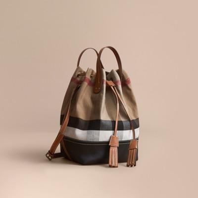 Canvas Check Bucket Bag   Burberry