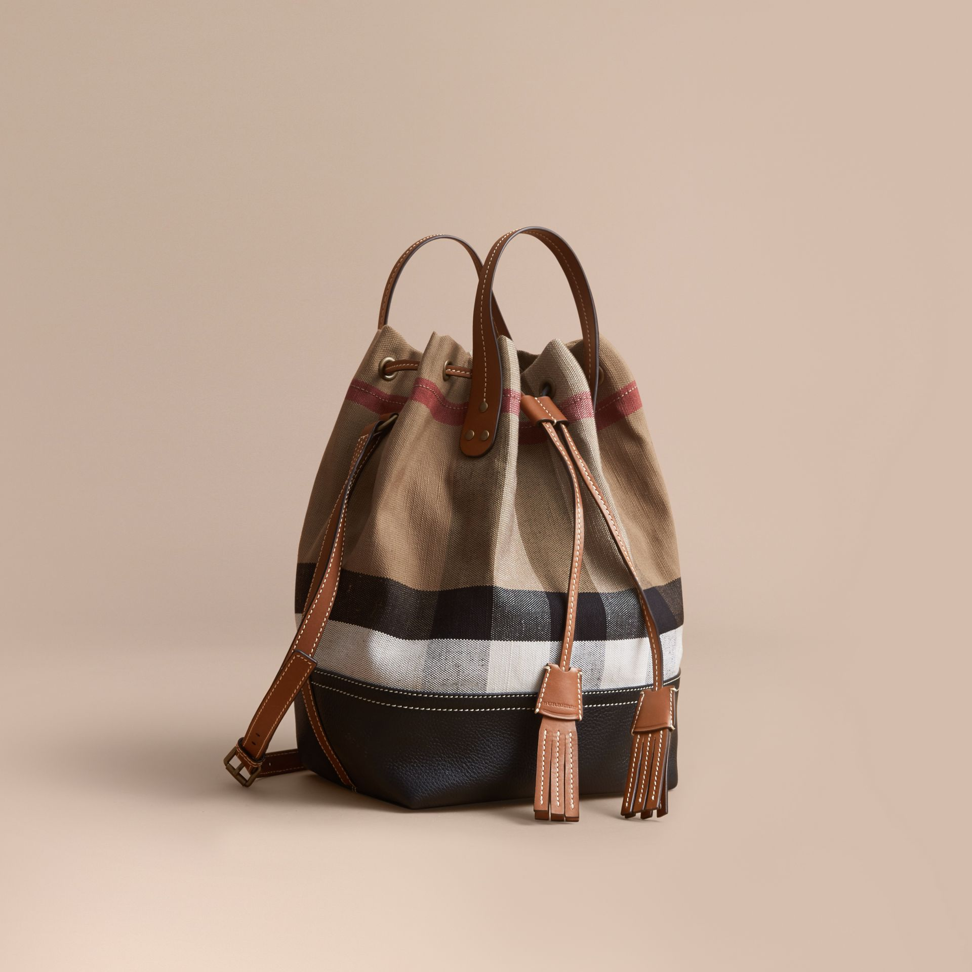 Canvas Check Bucket Bag - gallery image 1