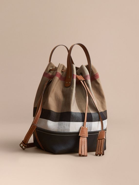 Canvas Check Bucket Bag