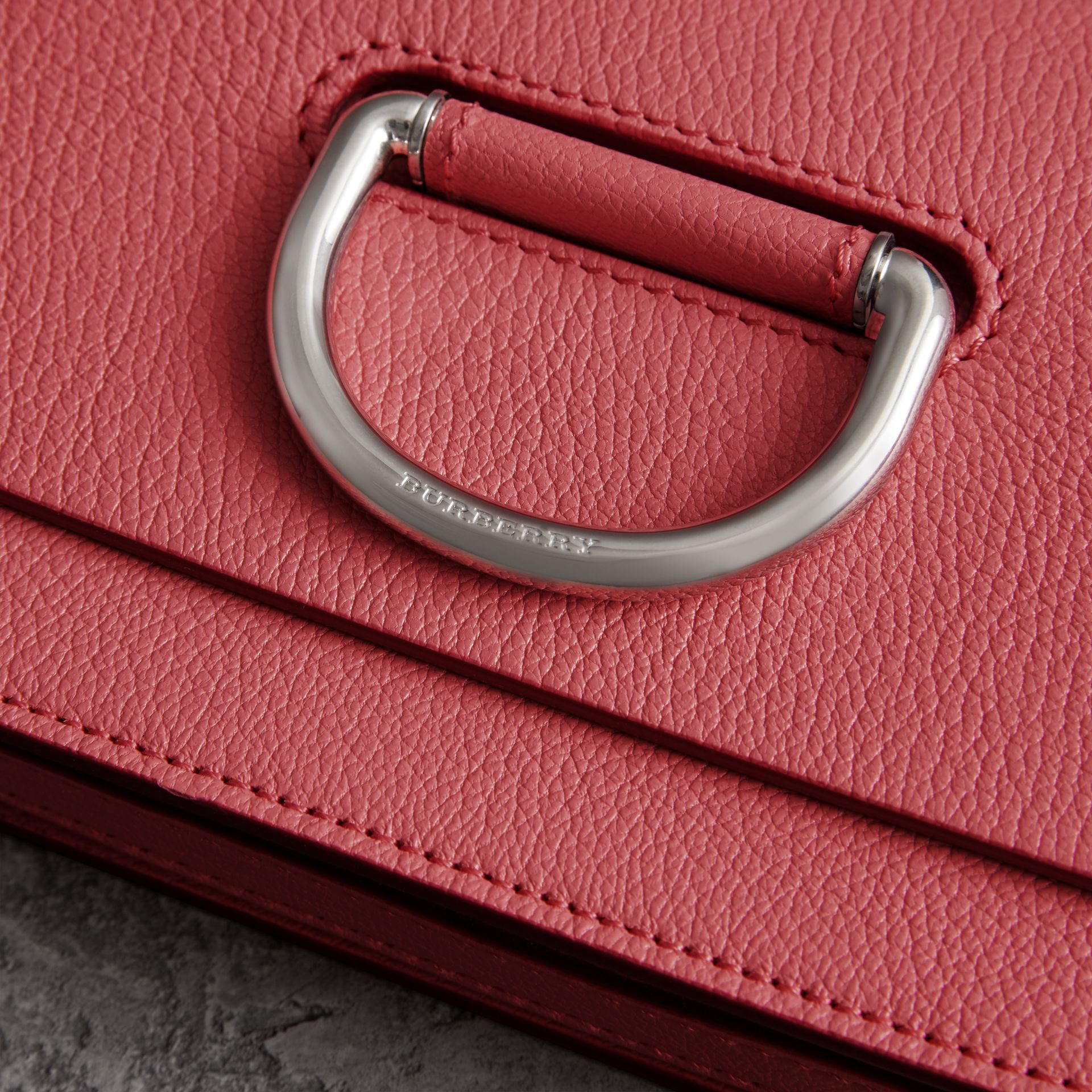 The Mini Leather D-ring Bag in Bright Coral Pink - Women | Burberry Australia - gallery image 1