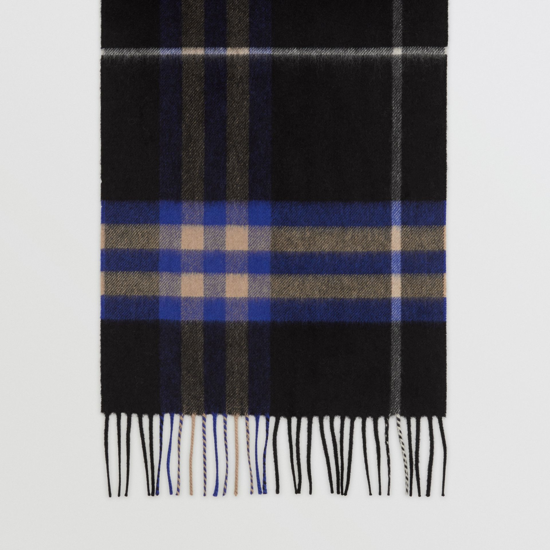 The Classic Check Cashmere Scarf in Bright Cobalt | Burberry United Kingdom - gallery image 4
