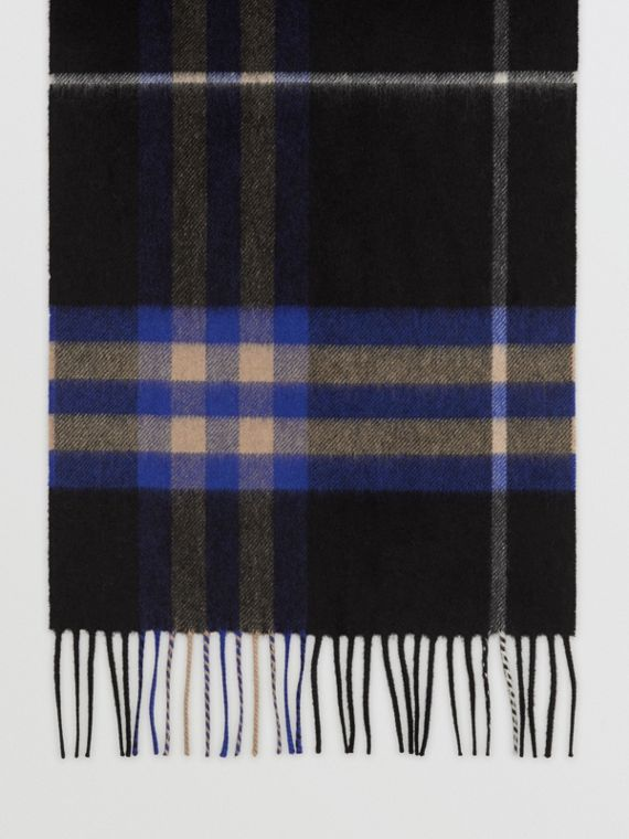 The Classic Check Cashmere Scarf in Bright Cobalt