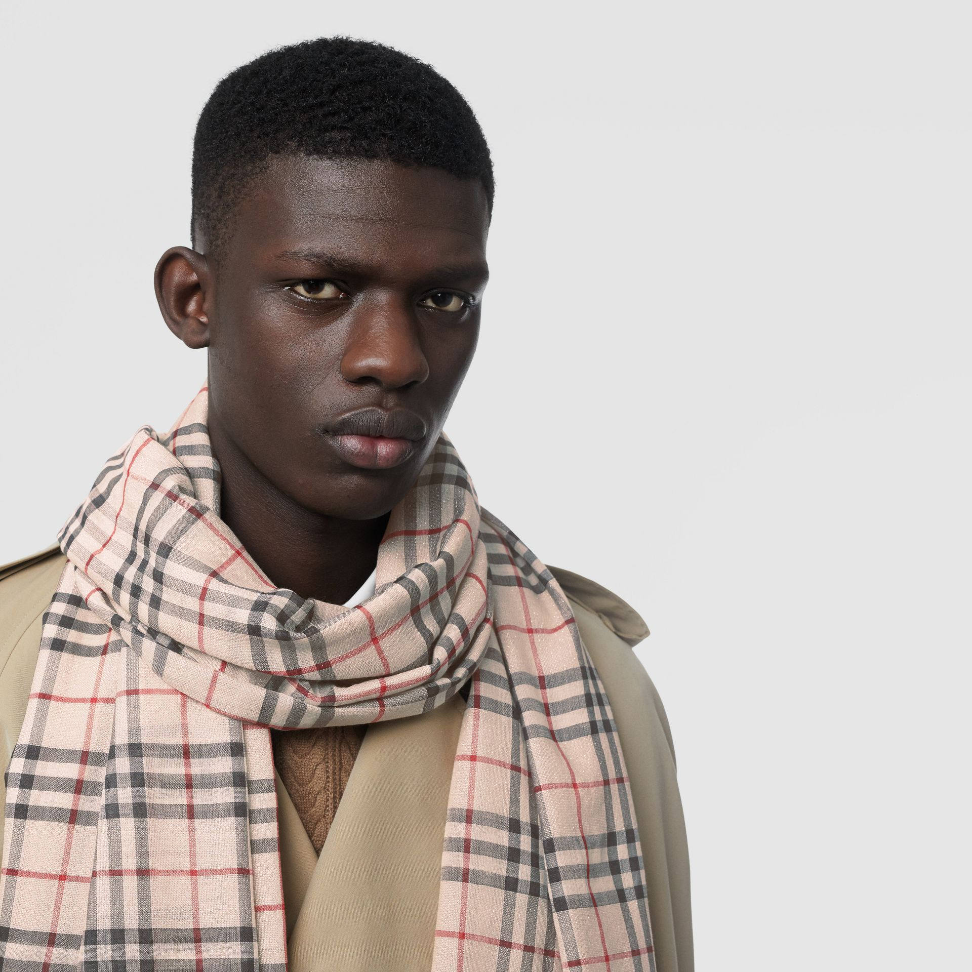 Metallic Vintage Check Wool Silk Blend Scarf in Stone | Burberry Australia - gallery image 6
