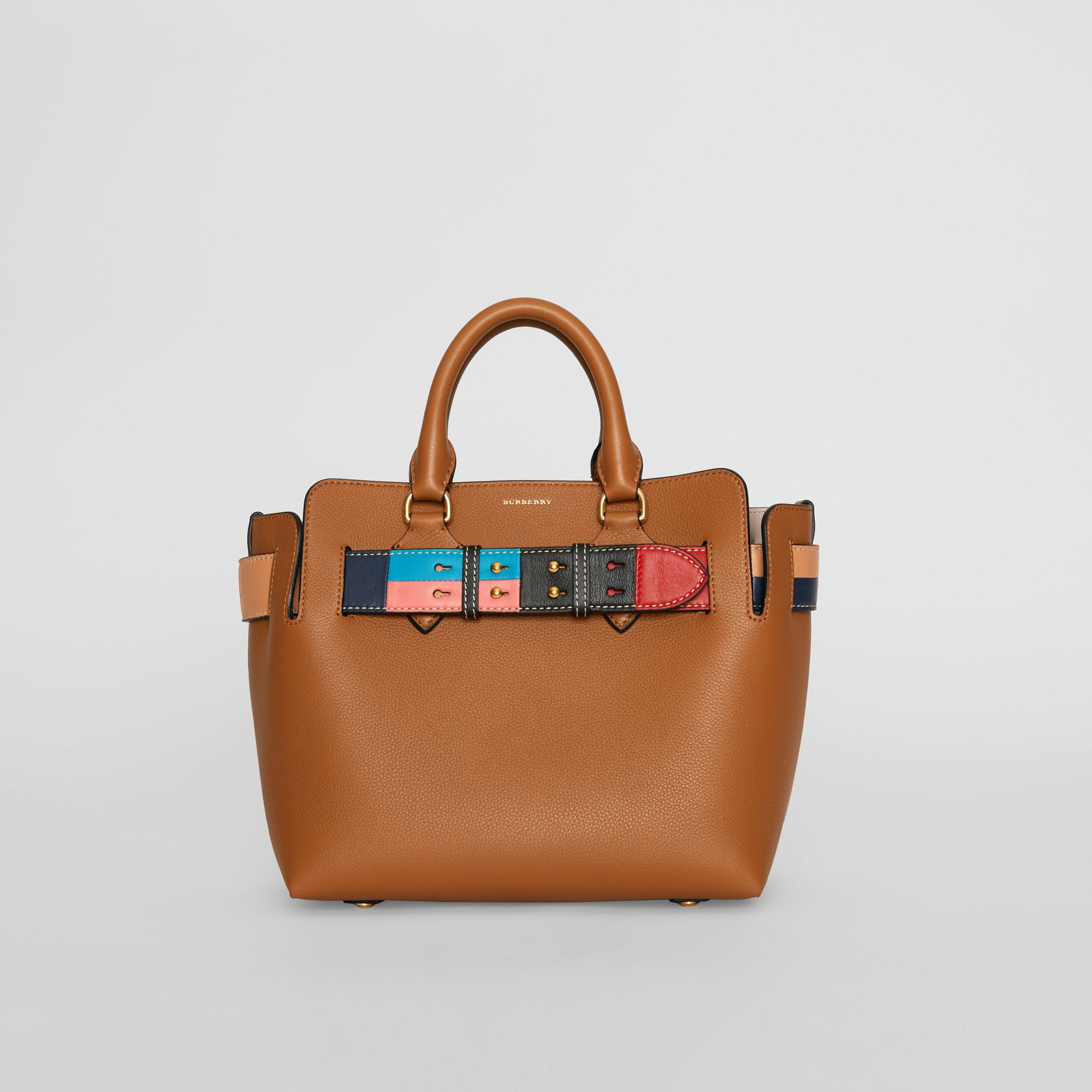 The Small Leather Colour Block Detail Belt Bag in Cognac - Women | Burberry Singapore - gallery image 0