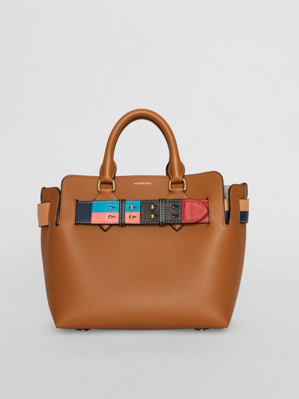 The Small Leather Colour Block Detail Belt Bag in Cognac