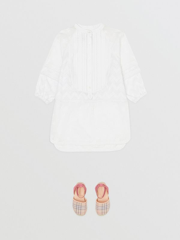 Pleated Bib Fil Coupé Cotton Shirt Dress in White - Girl | Burberry - cell image 2