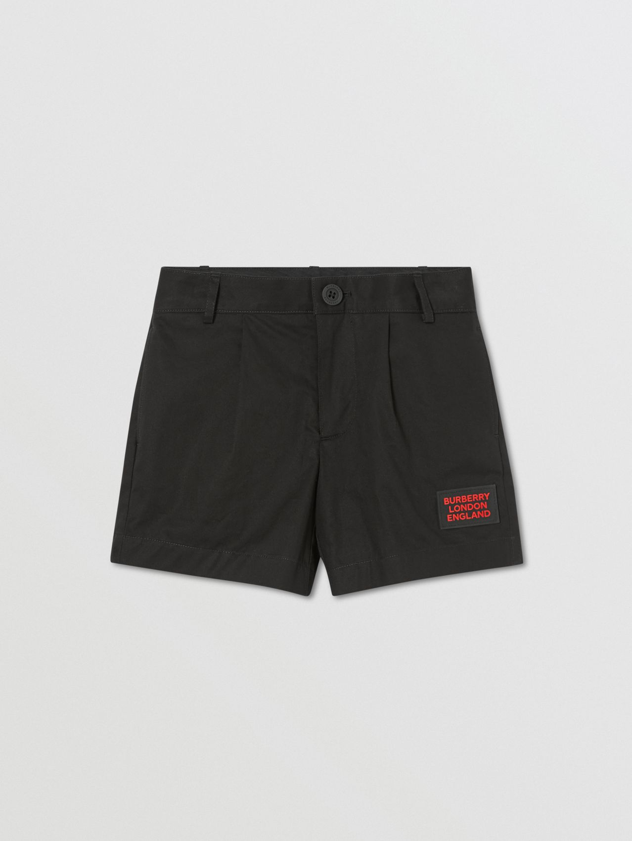Logo Appliqué Cotton Twill Tailored Shorts in Black