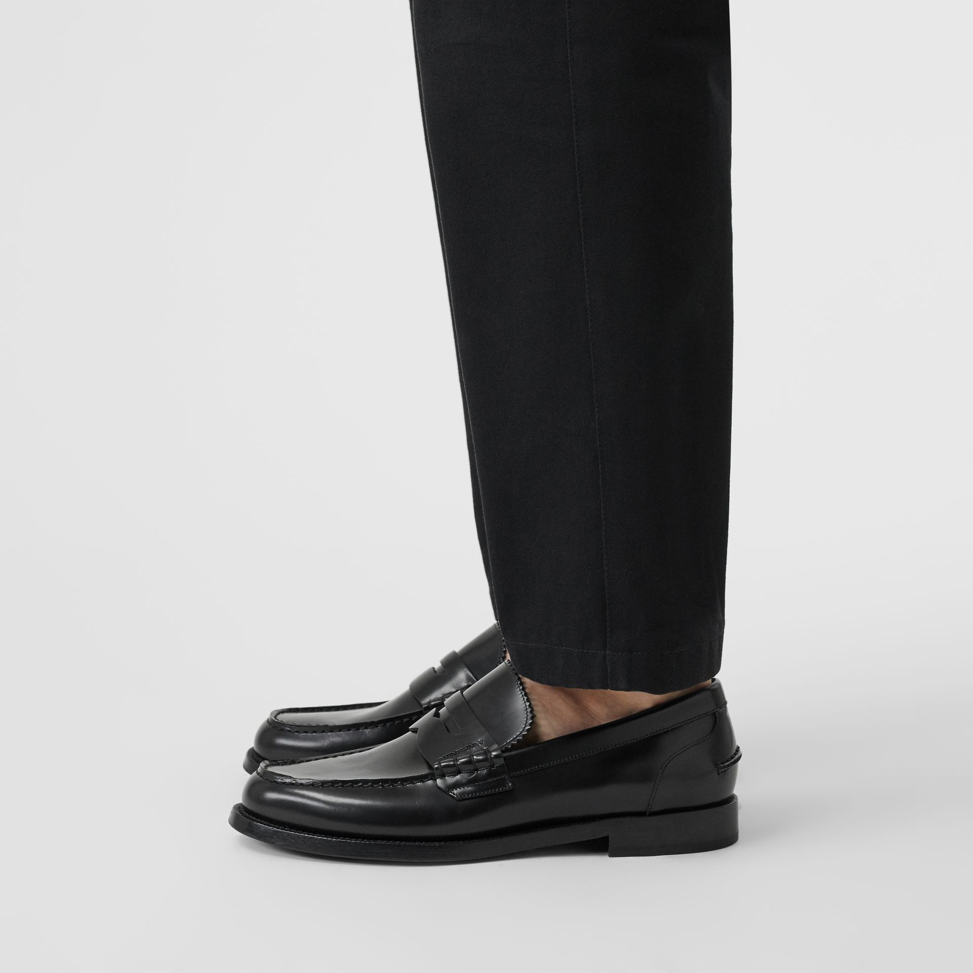 Leather Penny Loafers in Black - Men | Burberry - gallery image 2