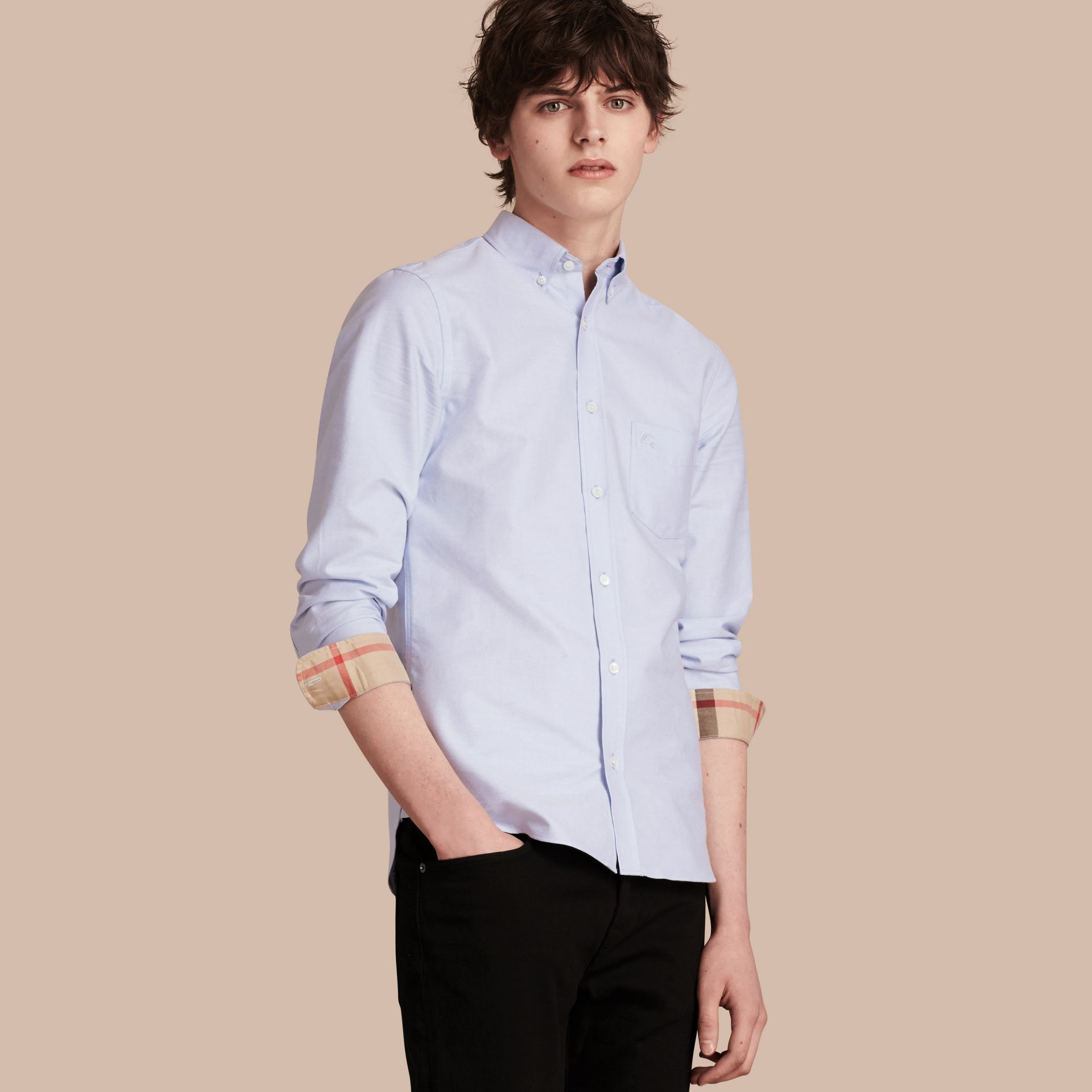 Check Detail Cotton Oxford Shirt in Cornflower Blue - Men | Burberry Singapore - gallery image 1