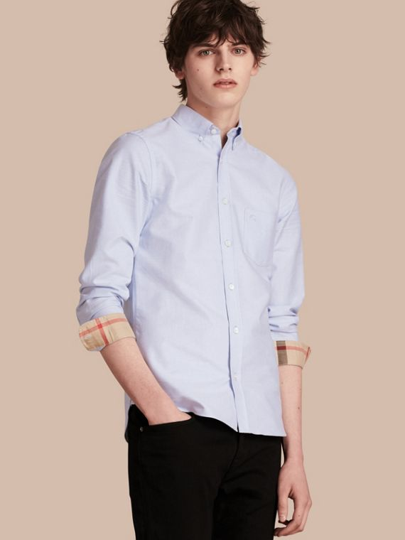 Check Detail Cotton Oxford Shirt in Cornflower Blue - Men | Burberry Singapore