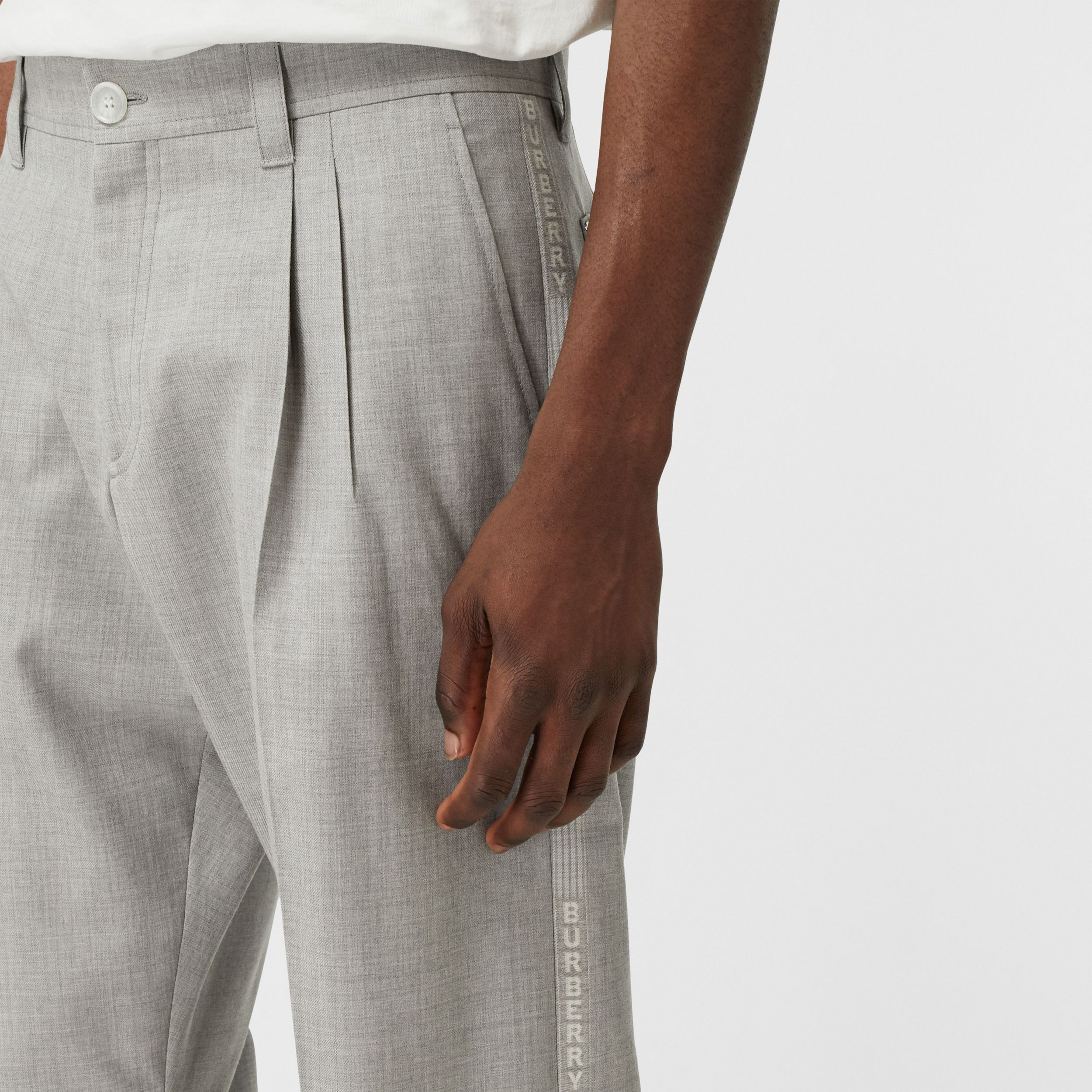 Logo Wool Jacquard Tailored Trousers in Light Pebble Grey - Men | Burberry - 2