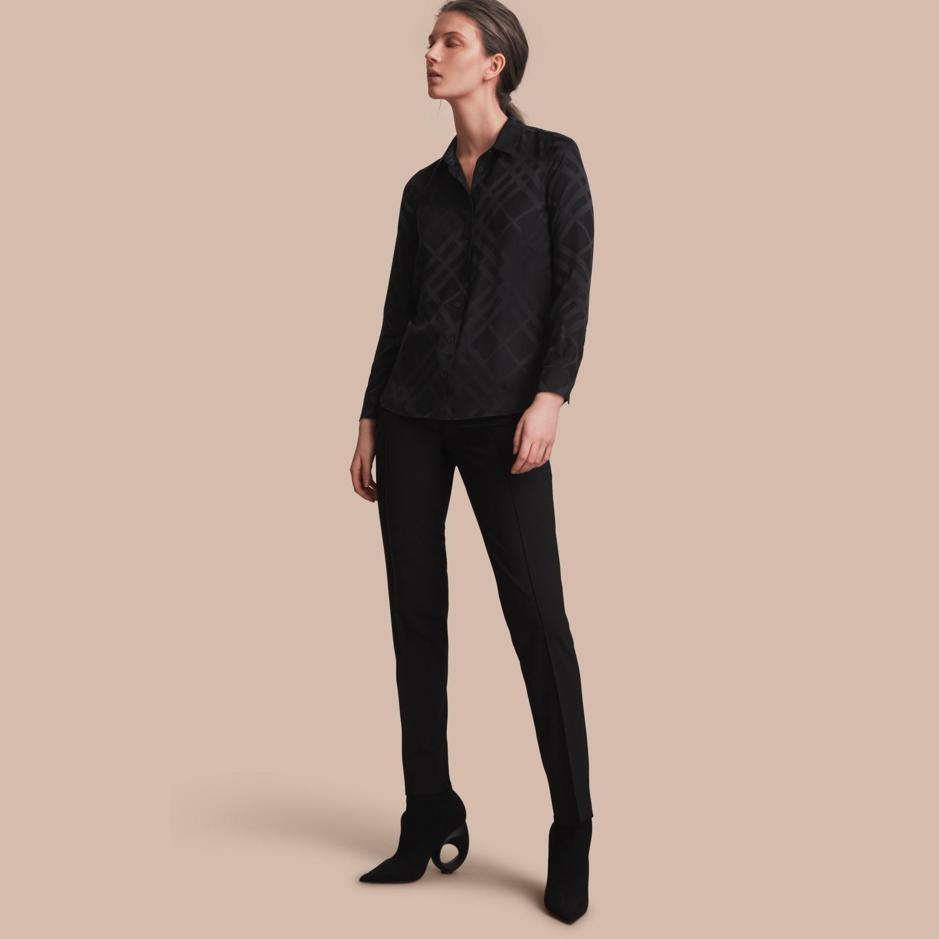 Tonal Check Silk Shirt Black - gallery image 1