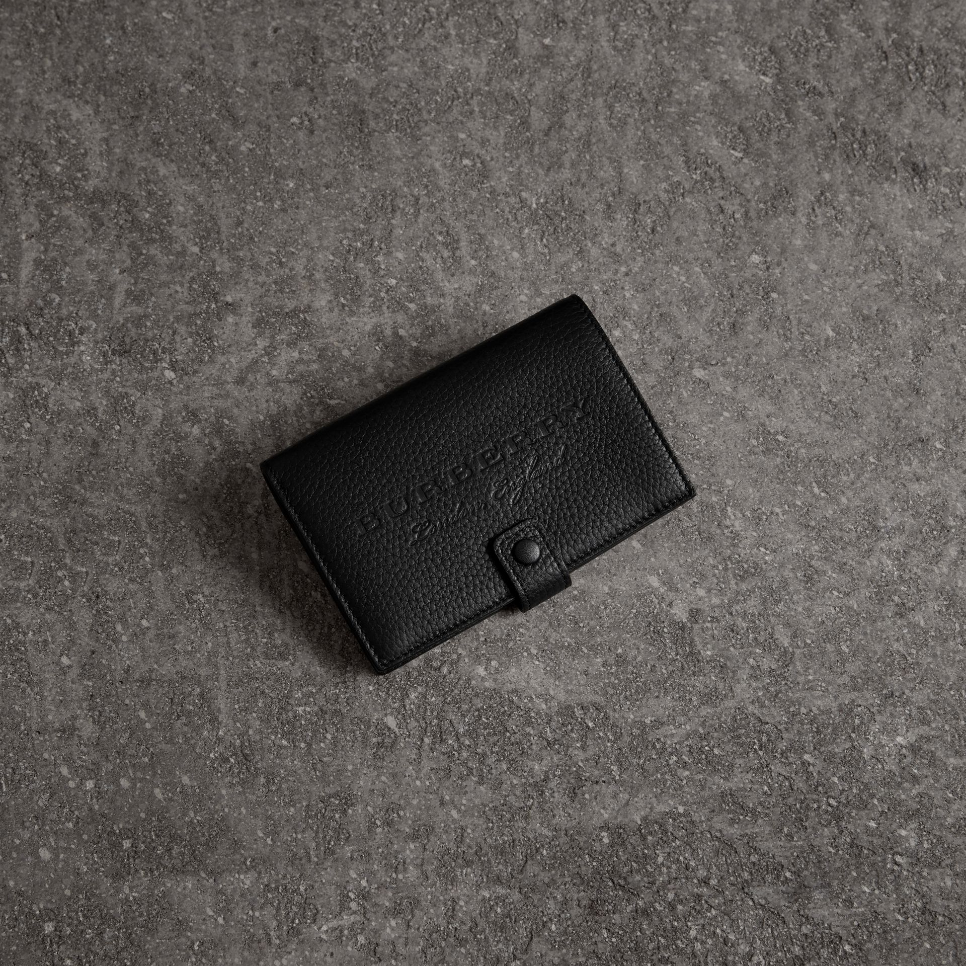 Embossed Grainy Leather Folding Wallet in Black - Women | Burberry Australia - gallery image 0