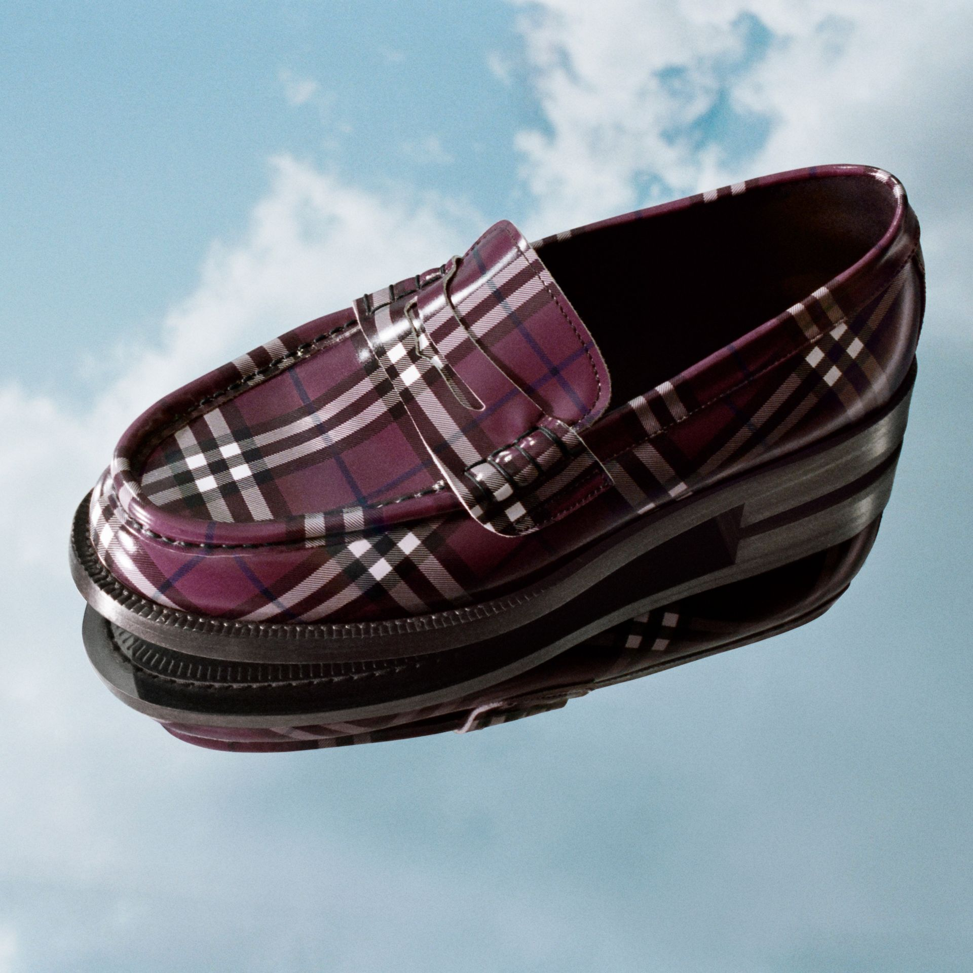 Gosha x Burberry Check Leather Loafers in Claret - Men | Burberry Singapore - gallery image 1