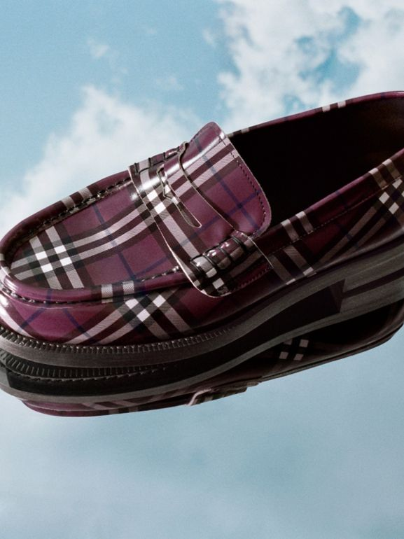 Gosha x Burberry Check Leather Loafers in Claret - Men | Burberry - cell image 1