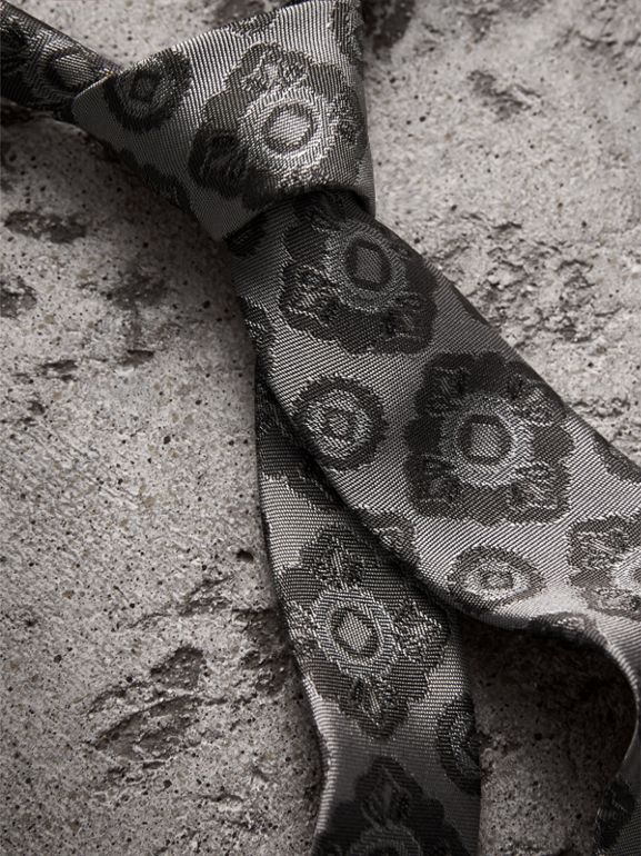 Slim Cut Tiled Floral Silk Jacquard Tie in Pale Grey - Men | Burberry United Kingdom - cell image 1